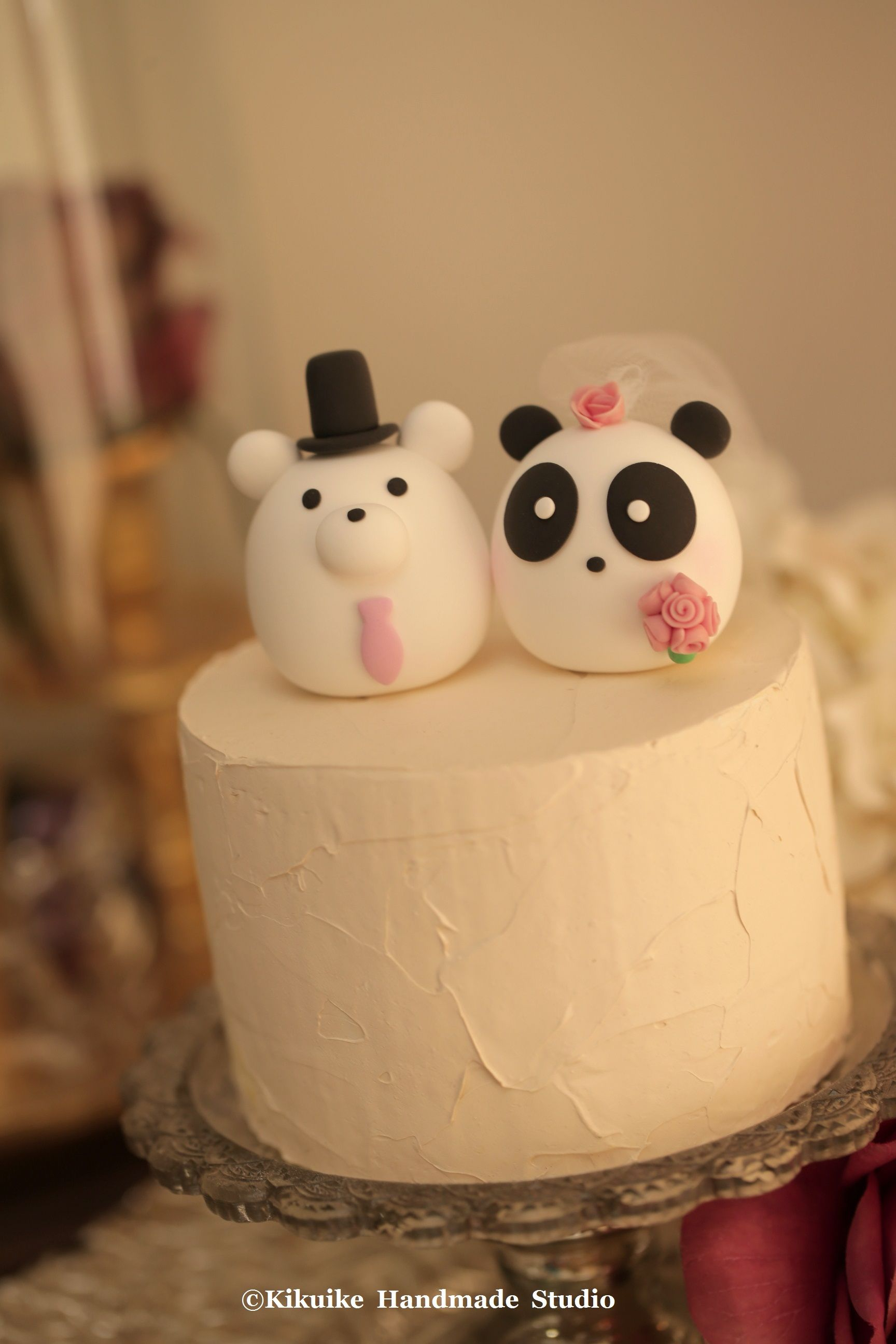 Love bear and panda MochiEgg wedding cake topper   MochiEgg cake ...
