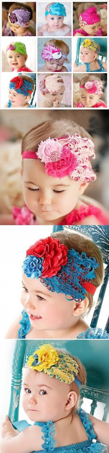 b55b6ac007609 1 pieces fashion feather headband baby hair flower band girls flowers  headbands children hair accessories