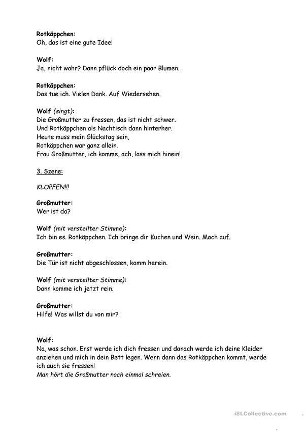 Märchen Rotkäppchen   Märchen und Deutsch