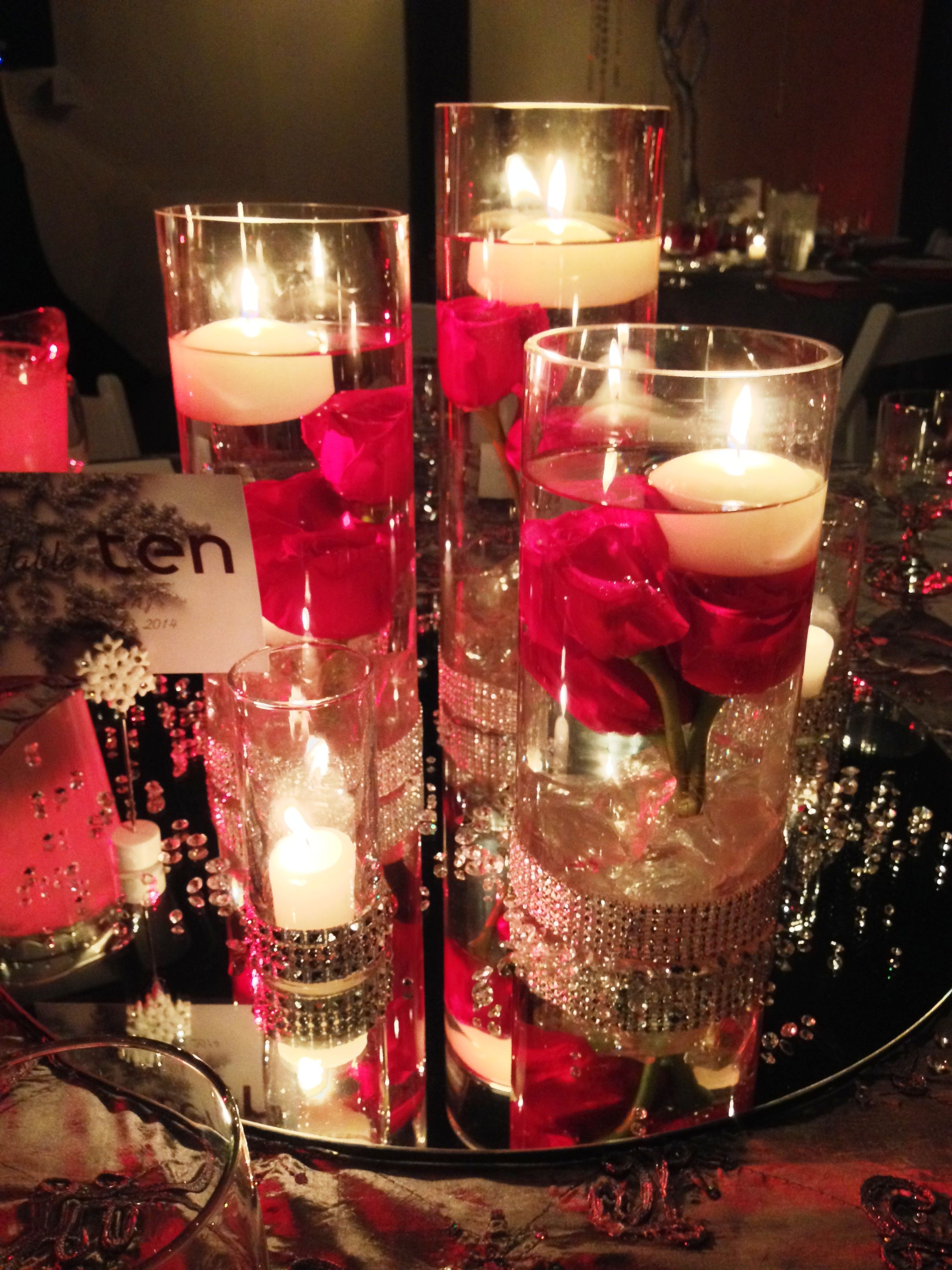 Centerpiece Cylinder Vase Sets With Votive Candles Mirror And Gem Confetti Available To Rent From Red Wedding Flowers Wedding Flowers Red Roses Wedding Table