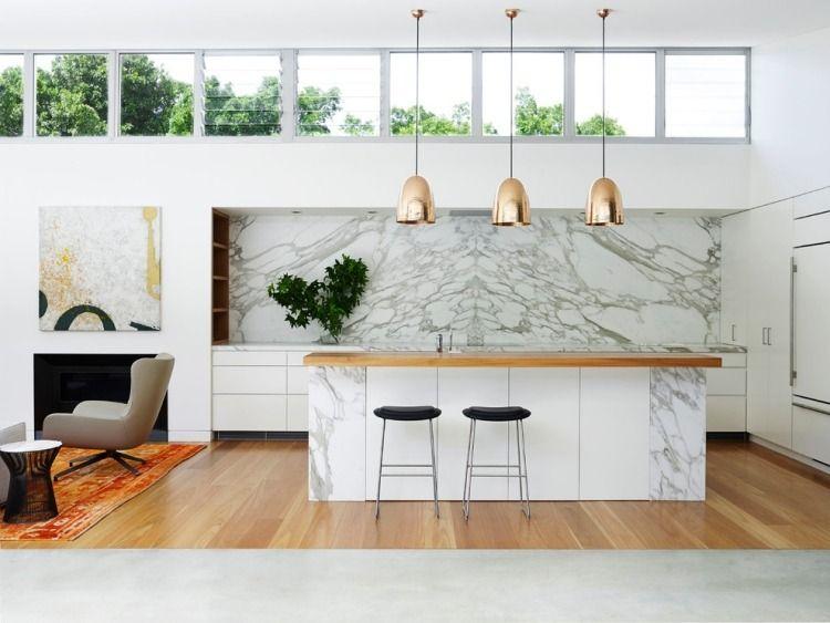 dosseret et plan de travail marbre pour la cuisine 80 id es meilleures id es plan de travail. Black Bedroom Furniture Sets. Home Design Ideas