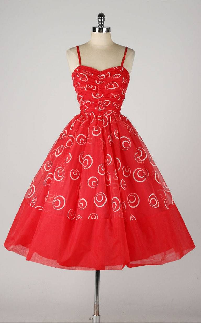 Vintage 1950 S Red Chiffon Glitter Swirls Dress Vintage 1950s Dresses Swirl Dress Vintage Dresses [ 1232 x 768 Pixel ]