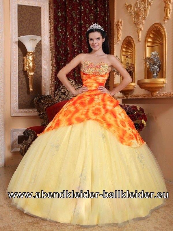 h bsches sissi kleid ballkleid orange gelbes abendkleid. Black Bedroom Furniture Sets. Home Design Ideas