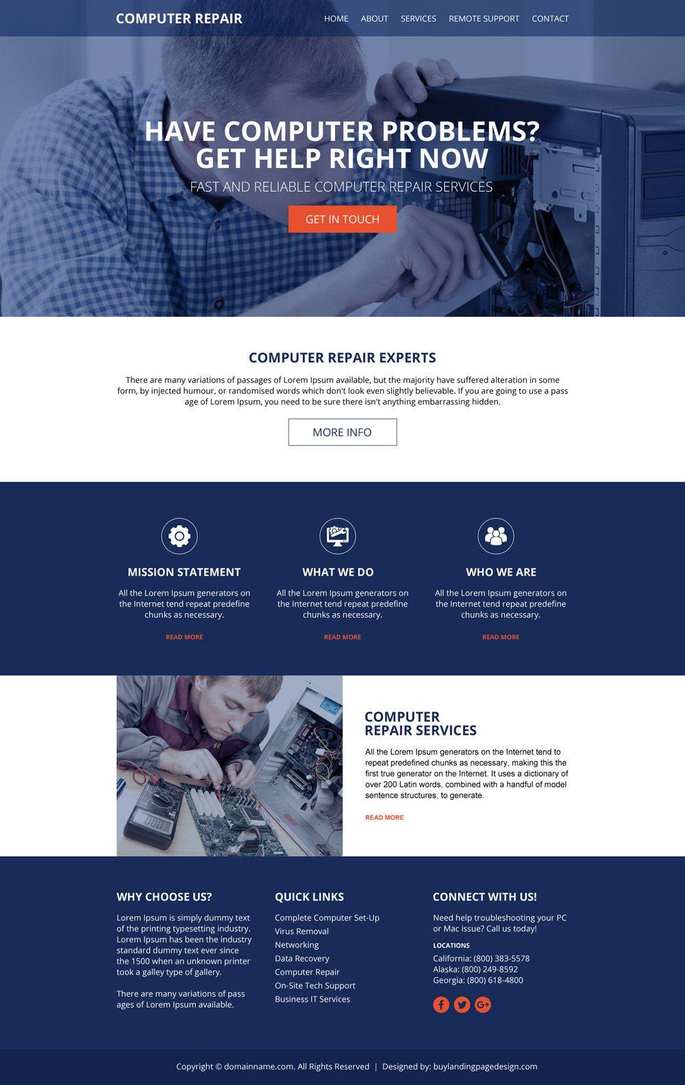 Download The Best Computer Repair Service Responsive Website Design To Create Professional C Computer Repair Services Computer Repair Responsive Website Design
