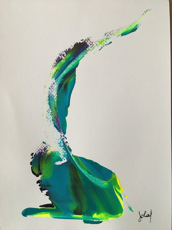 Acrylique Sur Papier Oeuvre Originale Decoration Abstrait