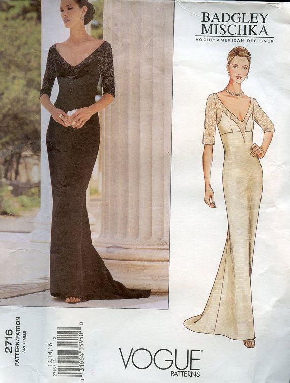 Vogue 2716 Designer Pattern Badgley Mischka Evening or Wedding ...