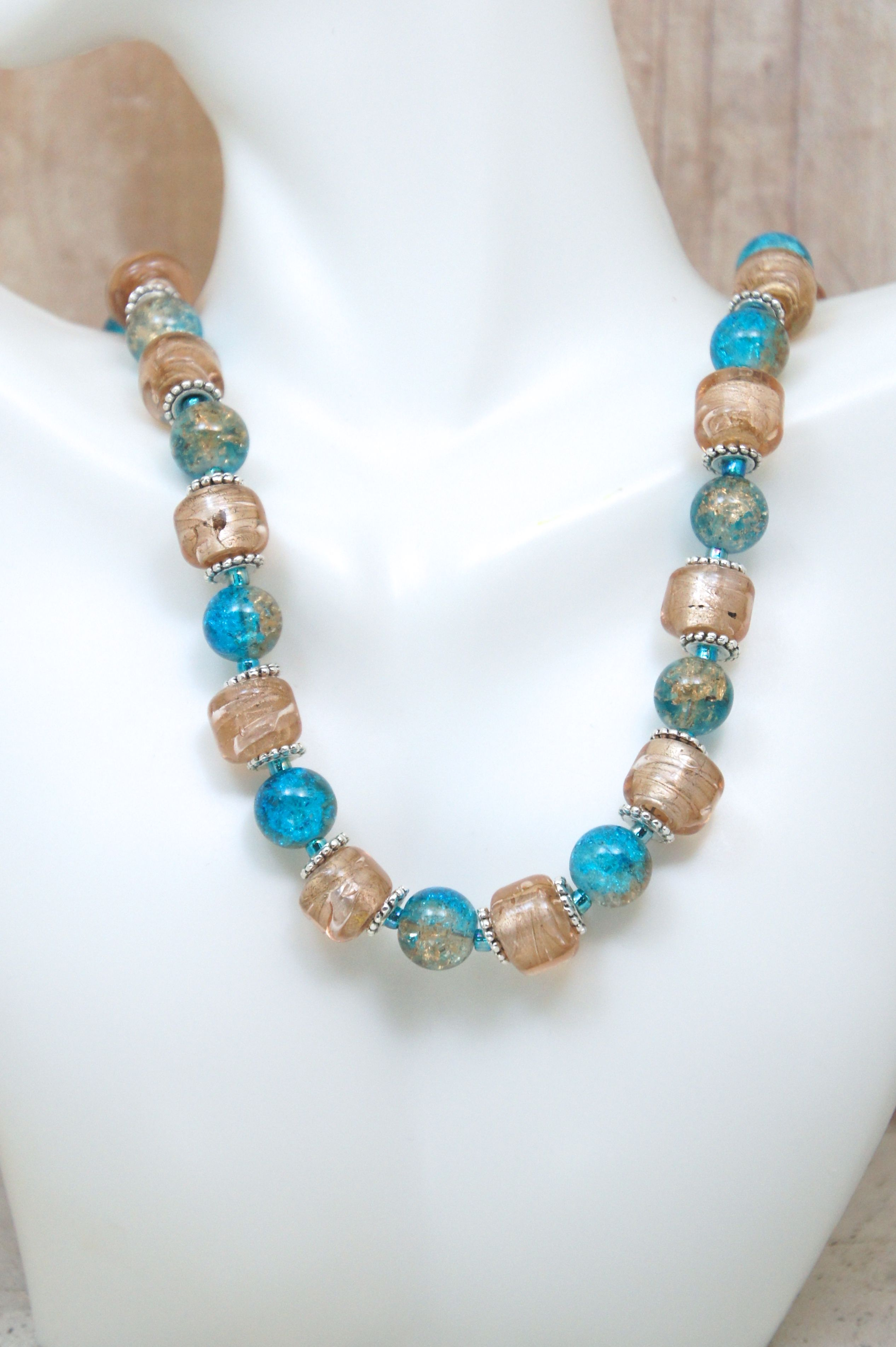 Lampworked Glass Necklace and Earring Set