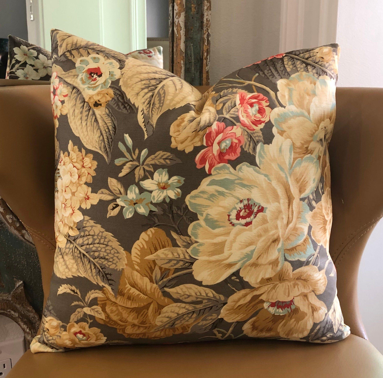 Brown gray shabby chic farmhouse decorative throw pillow