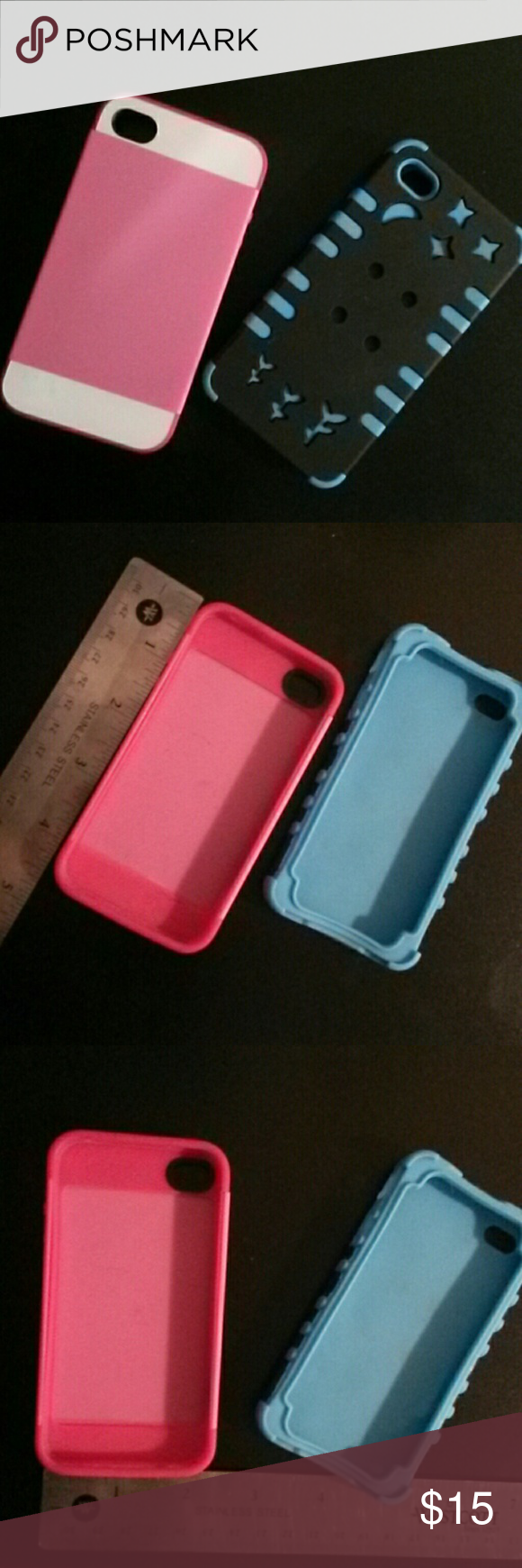 2 iPhone 5, 5s, 4, 4s cases These cases fit all 4 styles of the phone. (Mesurments are in pics 4 & 5. Never used in great condition. The pink one is one solid hard case whereas the blue one is in 2 peices, one is rubber & the other half is hard. Accessories Phone Cases