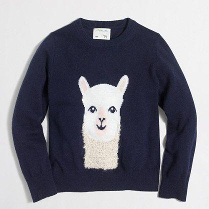 e8924ab03 Girls  alpaca intarsia popover sweater