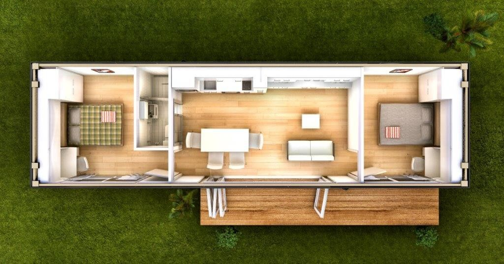 The Monaco Two Bedroom Granny Flat Container Home By Nova Deko Container House Building A Container Home Shipping Container Home Designs