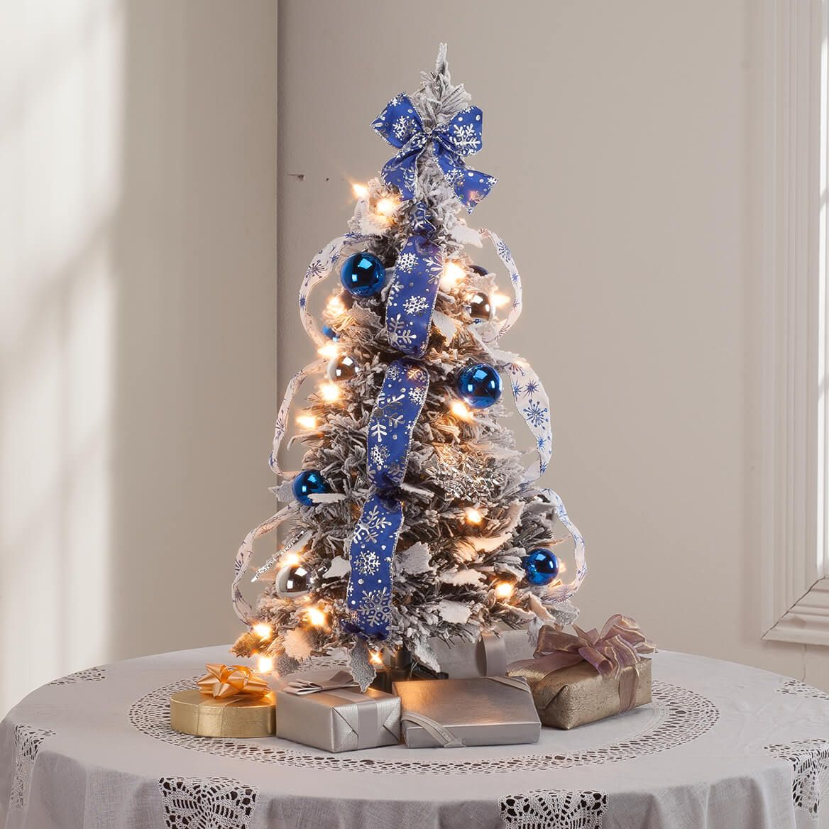 This 2 Ft Frosted Winter Style Pull Up Tree By Northwoods Arrives Pre Lit Fully Decorated And Beautifully Flocked Simply Pull It Up Holiday Frost Tree