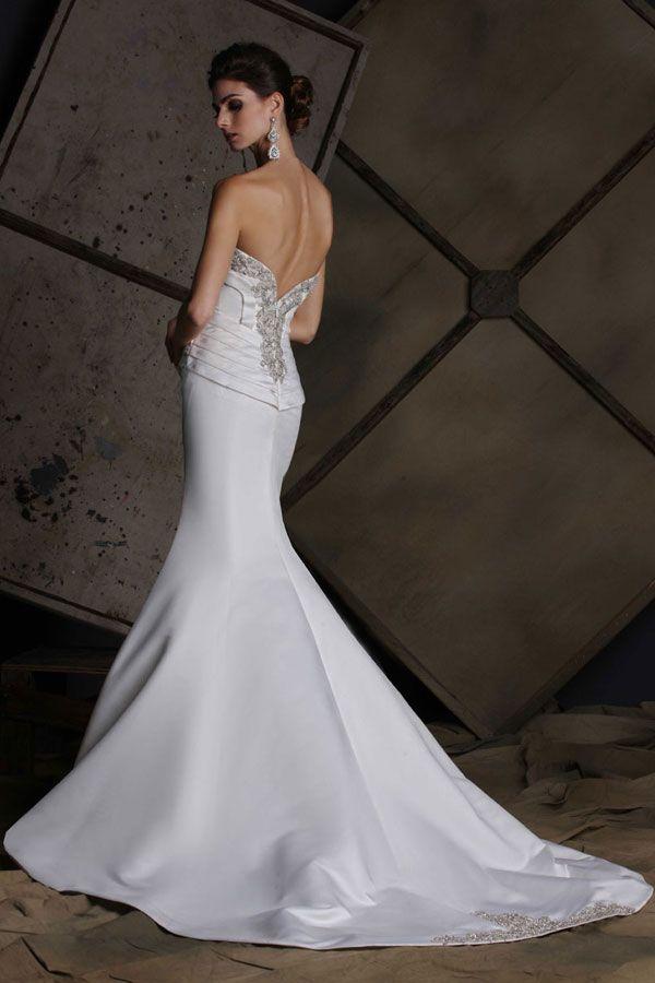 7b90ef397116 Victor Harper wedding dress style VH186, back view in satin #lowback #beaded  #mermaid