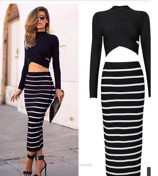 fba5b6b7d 2 Piece Set Stretch Crop Top and Long Pencil Skirt Set-Casual Dresses-Look  Love Lust