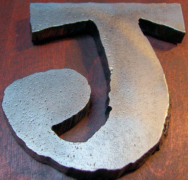 Portfolio Metalholler Letter J Metal Found Object