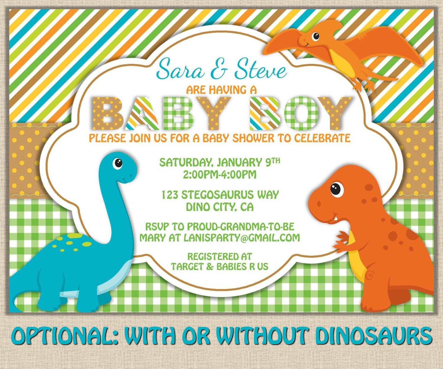Beautiful Shabby Chic Dinosaur Baby Shower Invitation   DIY Printable JPEG PDF.  $15.00, Via Etsy