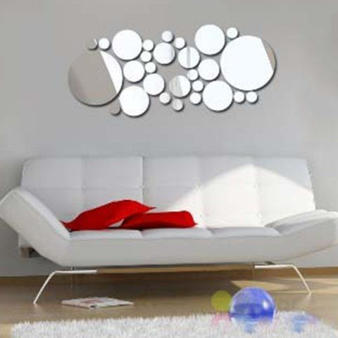 3d Removeable Multi Piece Circle Mirror Sticker For Walls Wall