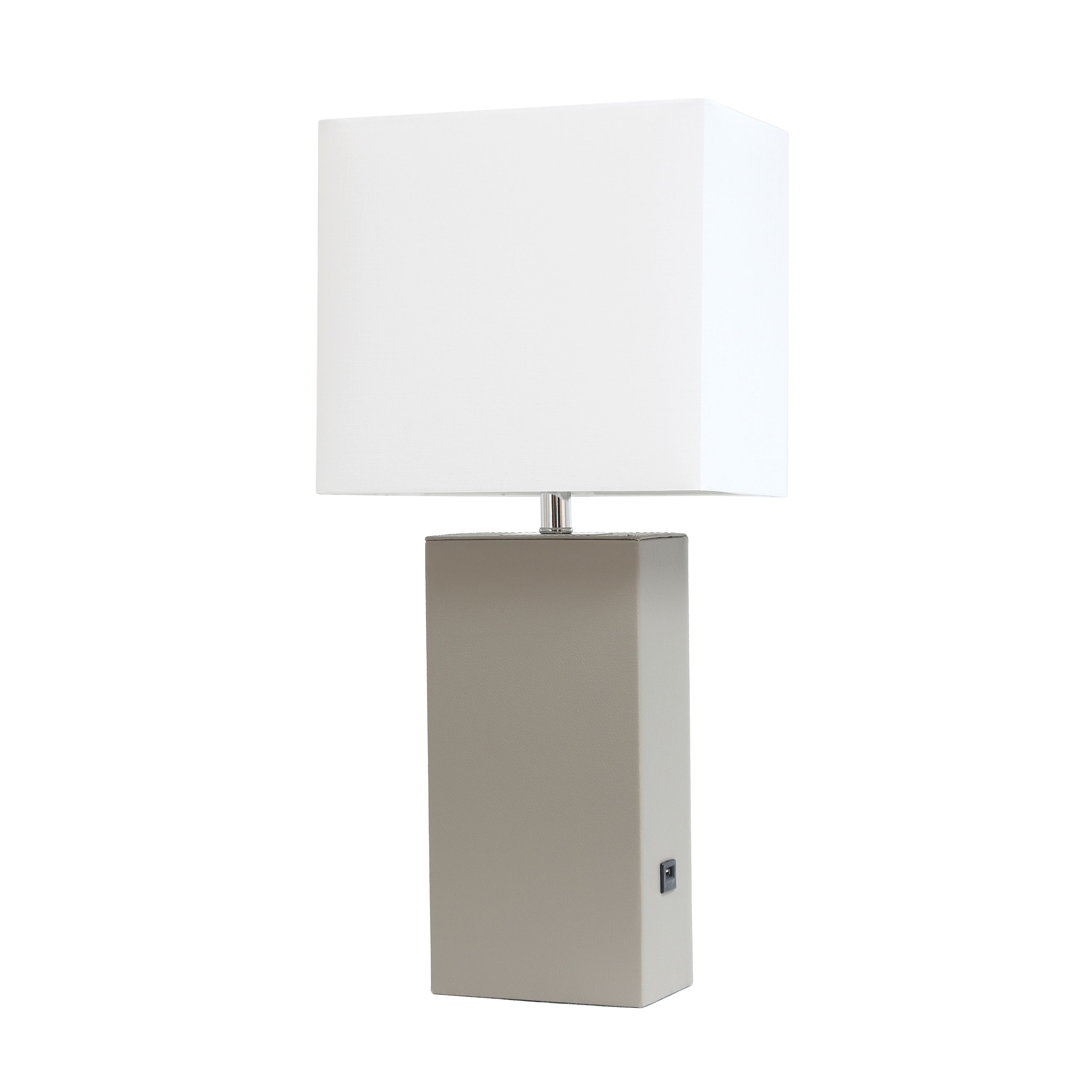 Elegant Designs Modern Leather Table Lamp With Usb And White