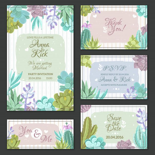 Cactus wedding cards set Free Vector  Free Vector