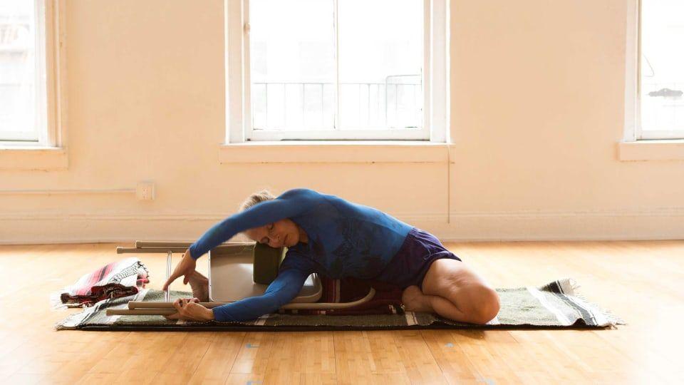Iyengar 201 How To Practice Parivrtta Janu Sirsasana With A Chair Iyengar Yoga Iyengar Yoga Handstand