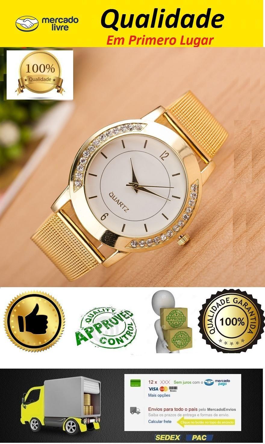 19dfa50839d Relógio Feminino Cor Ouro no Mercado Livre