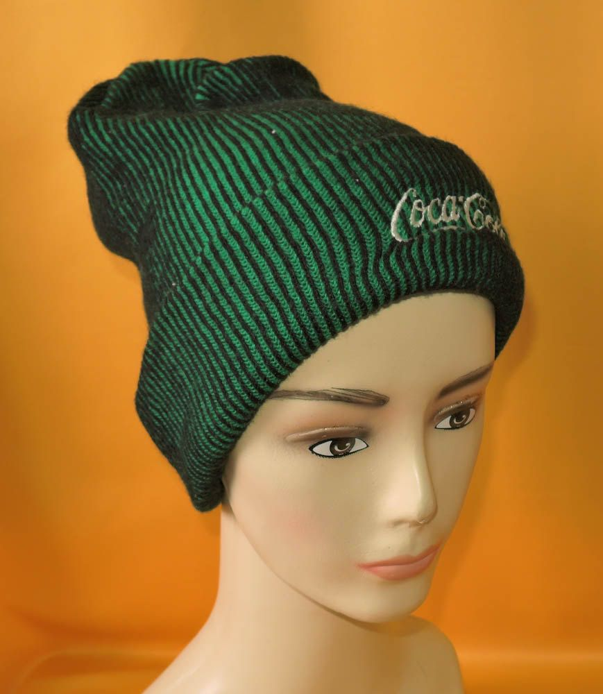 8bdc7b91c04 Coca Cola Beanie Ski Hat Two Sides Vintage 90s Signature Stripe Pattern  Green Acrylic Snow Cap Made In Japan by InPersona on Etsy