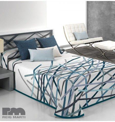 couvre lit comforter Couvre lit tissé jacquard réversible Bastian bleu   Bleu   Pinterest couvre lit comforter