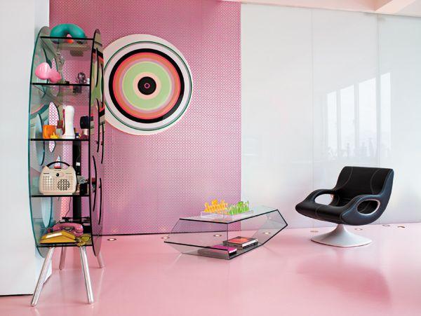 Cool and trendy living area design by Karim Rashid. Love it!