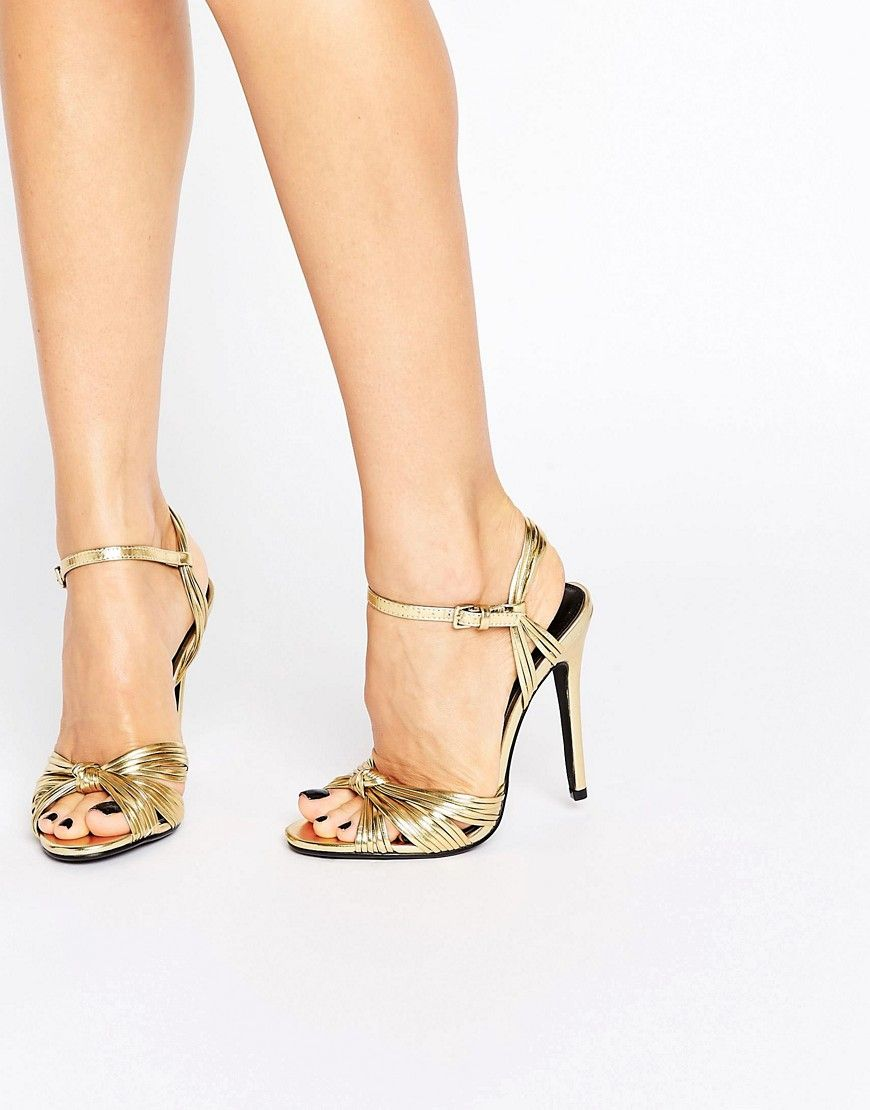 797d53fbc86 Public Desire Angel Knot Gold Heeled Sandals - Gold