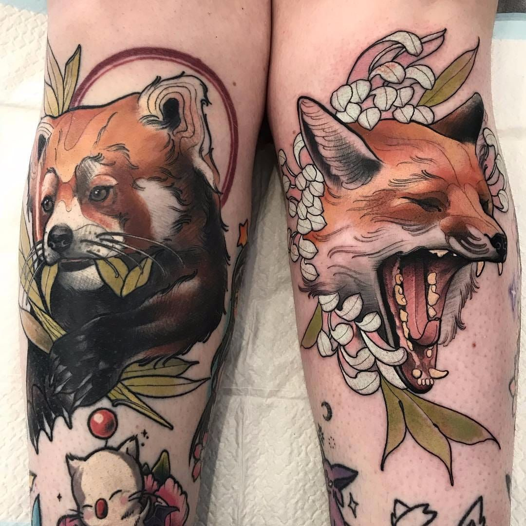 Red Panda And Red Fox By Tim Tavaria Timtavaria Color Neotraditional Redpanda Leaves Animal Nature Fox Chrysant Panda Tattoo Red Fox Tattoos Red Panda