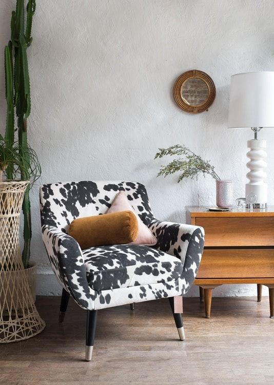 Charming X X This Chic Mid Century Faux Cow Hide Lounge Chair Is Ready To Moooove  Into Your Living Room! Idea