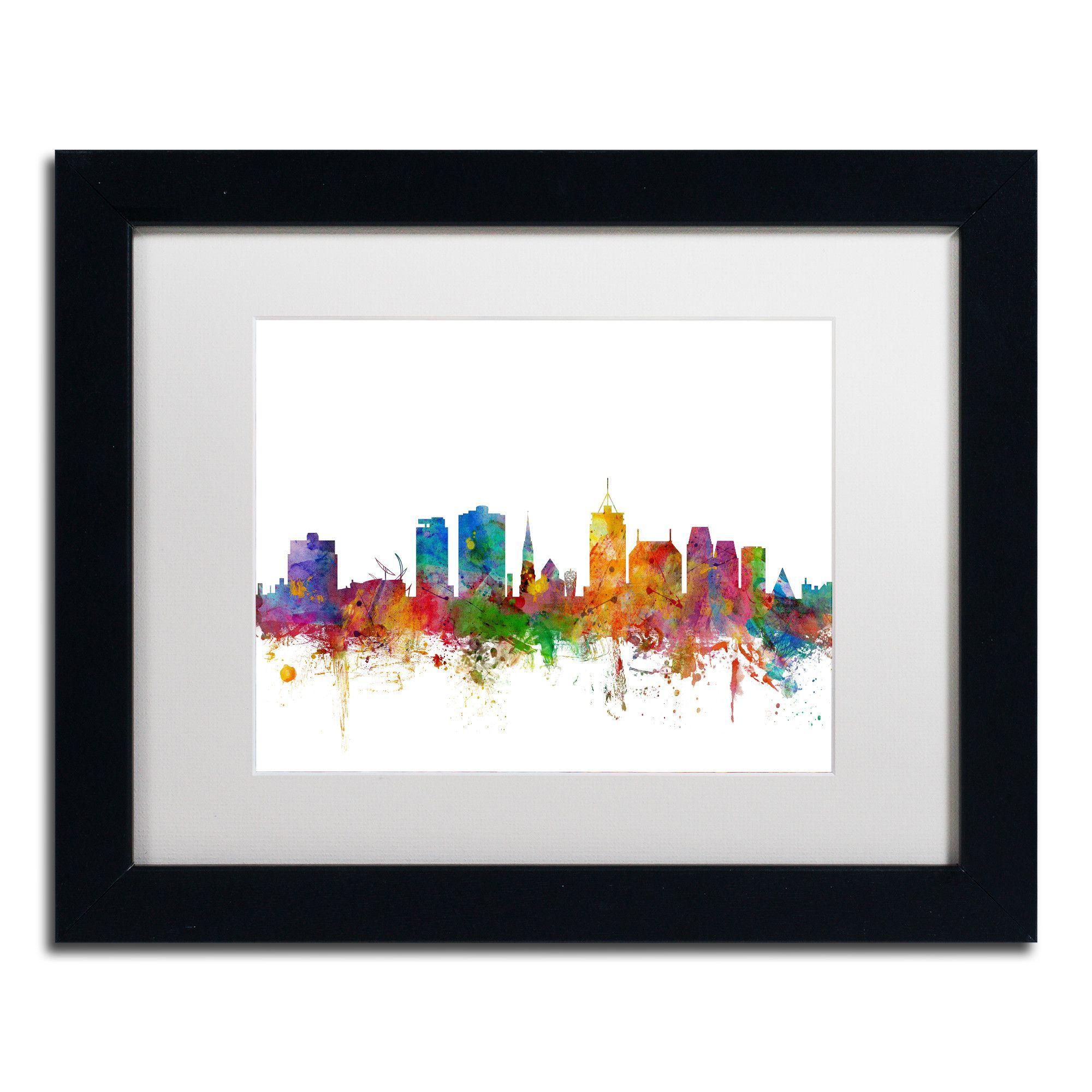 Christchurch Skyline II by Michael Tompsett Framed Graphic Art in White