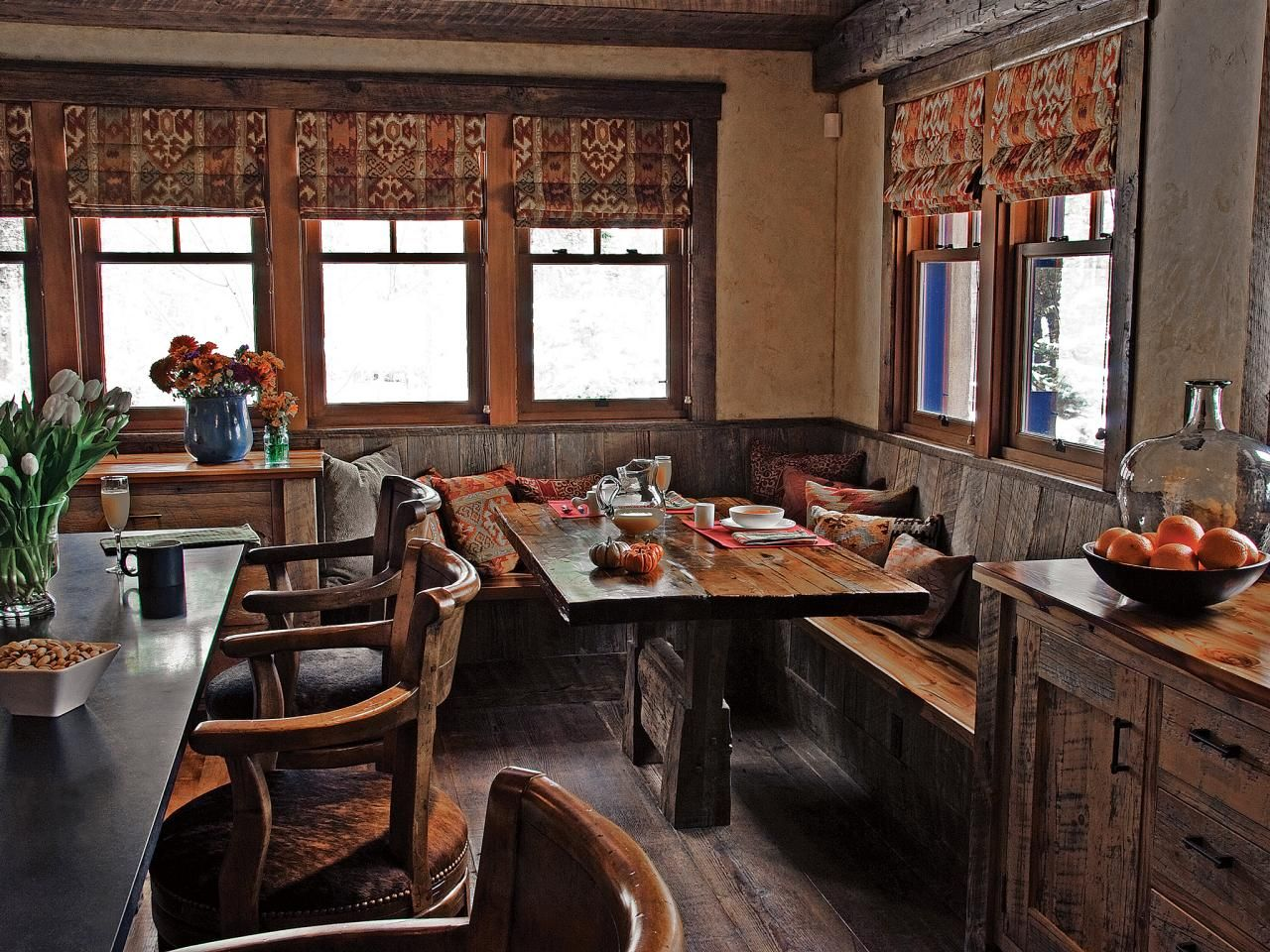Rustic Kitchen With Reclaimed Banquette Seating Banquette Seating Rustic Kitchen Breakfast Nook