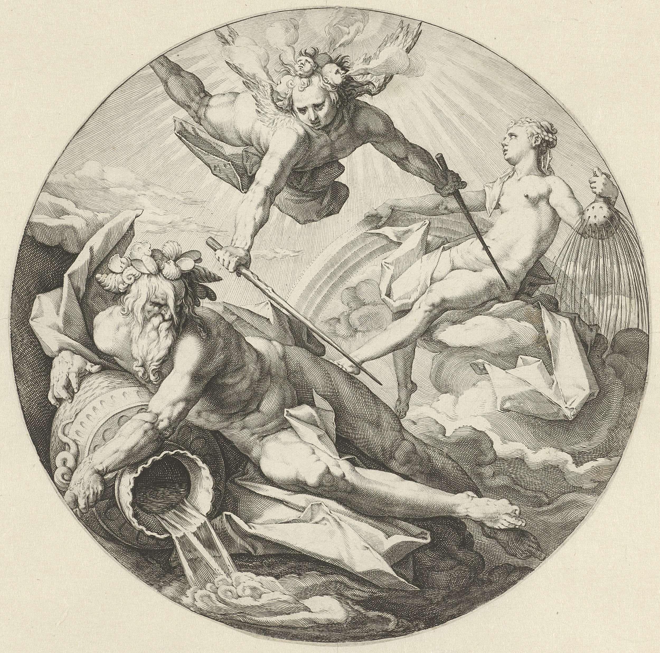 Jan Harmensz. Muller | Tweede scheppingsdag: scheiding tussen de wateren, Jan Harmensz. Muller, Hendrick Goltzius, 1589 | De tweede scheppingsdag: een engel, op zijn hoofd de vier winden, scheidt het hemelwater van het water van de aarde. Het hemelwater wordt gepersonifieerd door een vrouw met een karaf in haar hand, waaruit water stroomt. In haar andere hand de regenboog. Het water van de aarde wordt gepersonifieerd door een stroomgod, met een kruik waaruit water stroomt. Op zijn hoofd…
