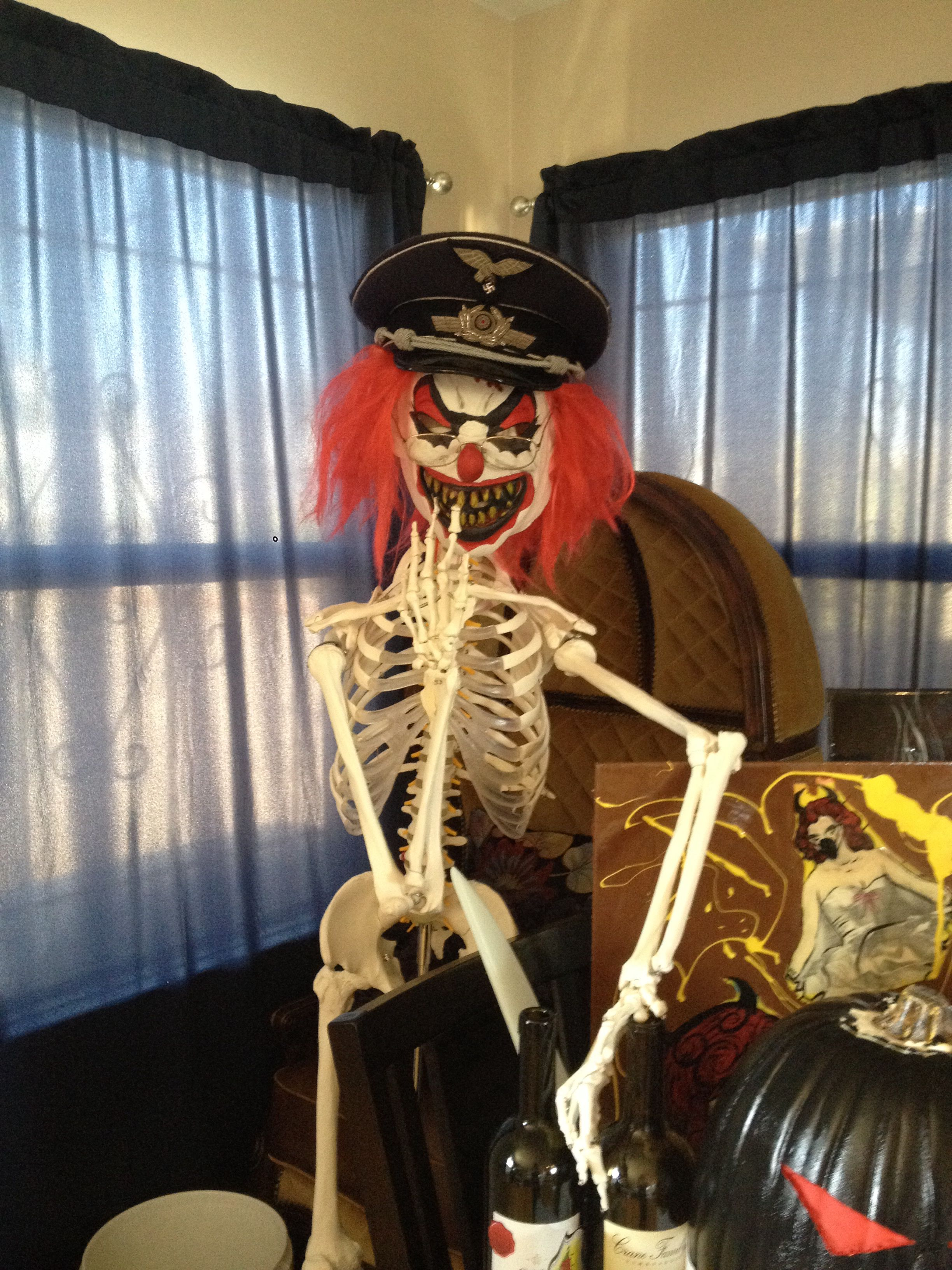 Scary clown skeleton Halloween prop decoration