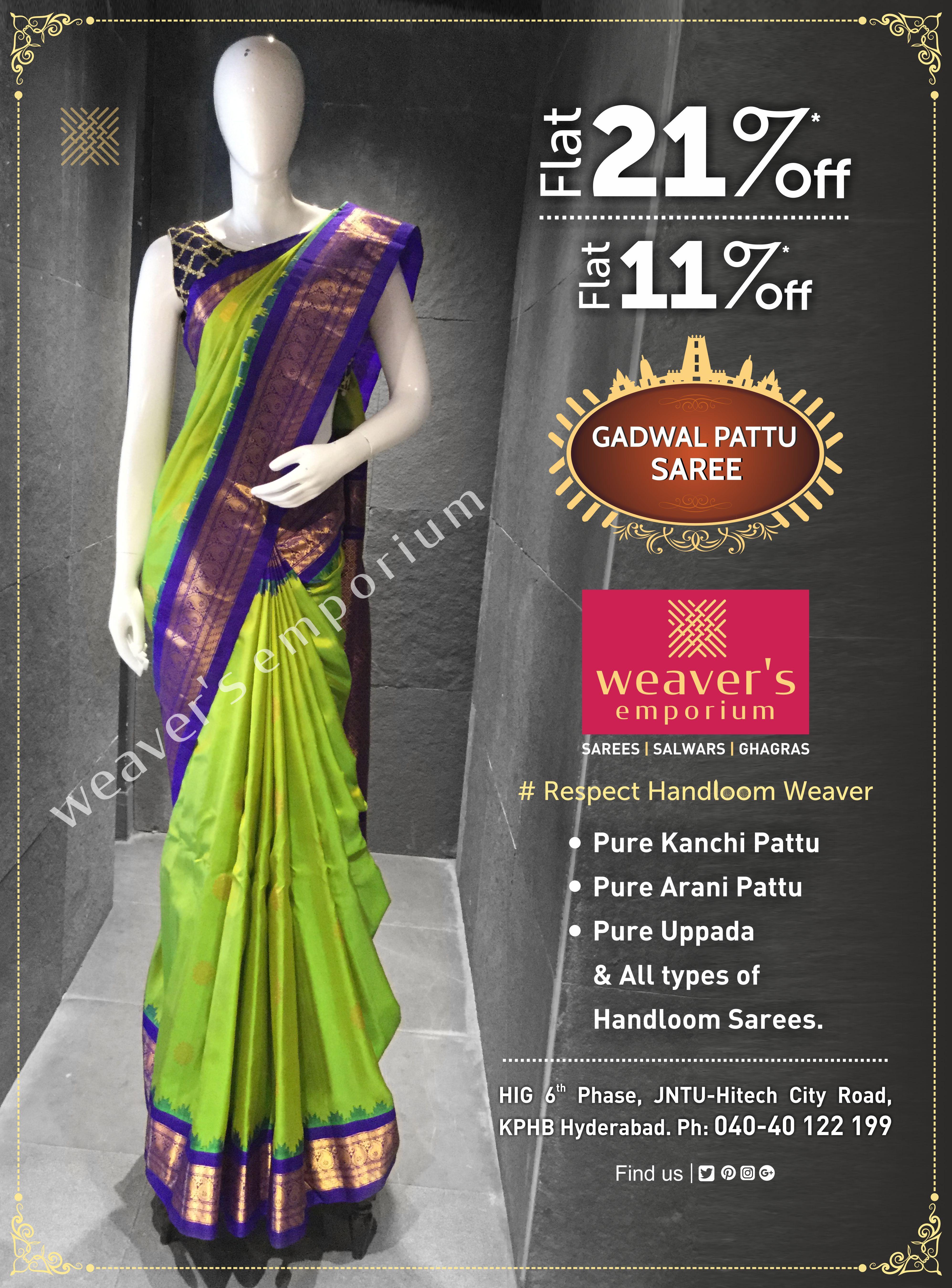 9257bffc2b Weavers Emporium Gadwal Pattu Saree   Exclusive Linen Sarees ...