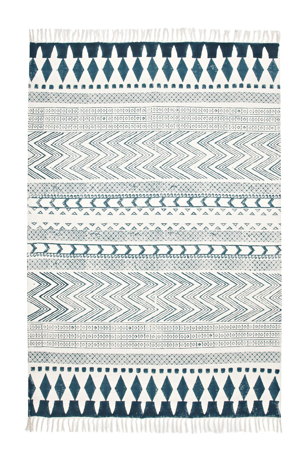 Glasregal Zigzag+atlas Zig Zag And Striped Print Rug Tassels At Both Ends Products May