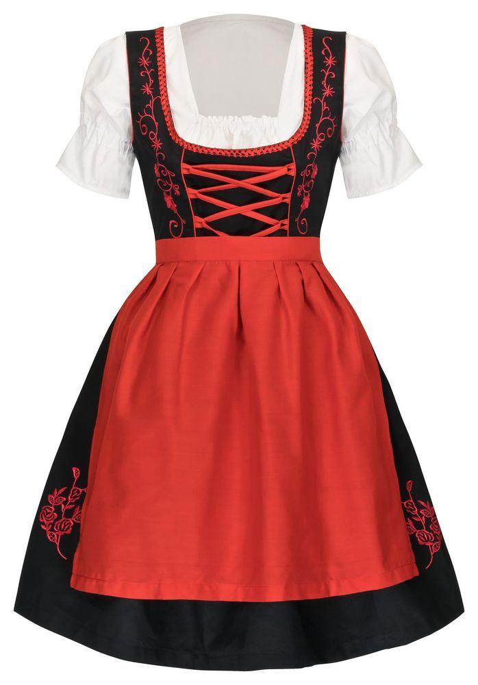 fae9cfa7f26245 Dirndl Set 3 tlg.Trachtenkleid Kleid, Bluse, Schürze, Gr. 34-52 Neu ...