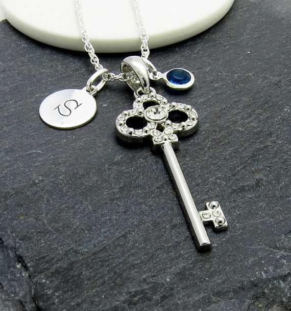 Silver Birthstone Initial Charm with Key by MistyMornDesigns