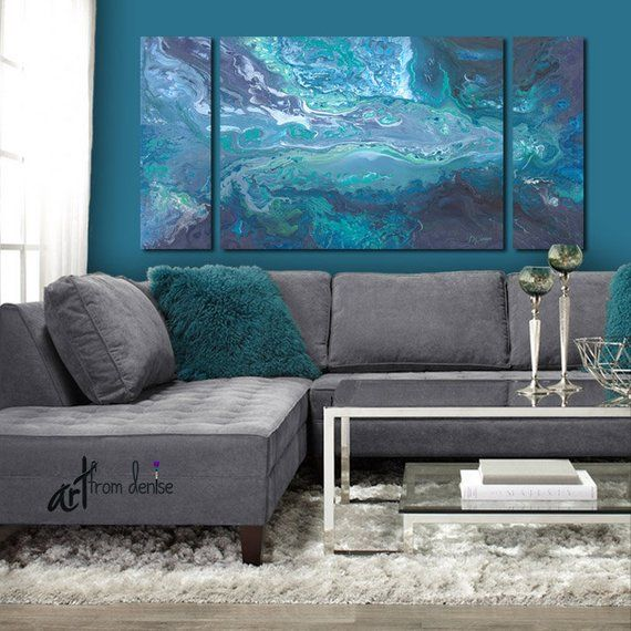 3 Piece Wall Art Canvas Abstract Print Set Blue Teal Gray Triptych Painting