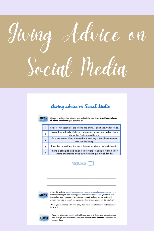 Giving Advice on Social Media - Writing – Unterrichtsmaterial im