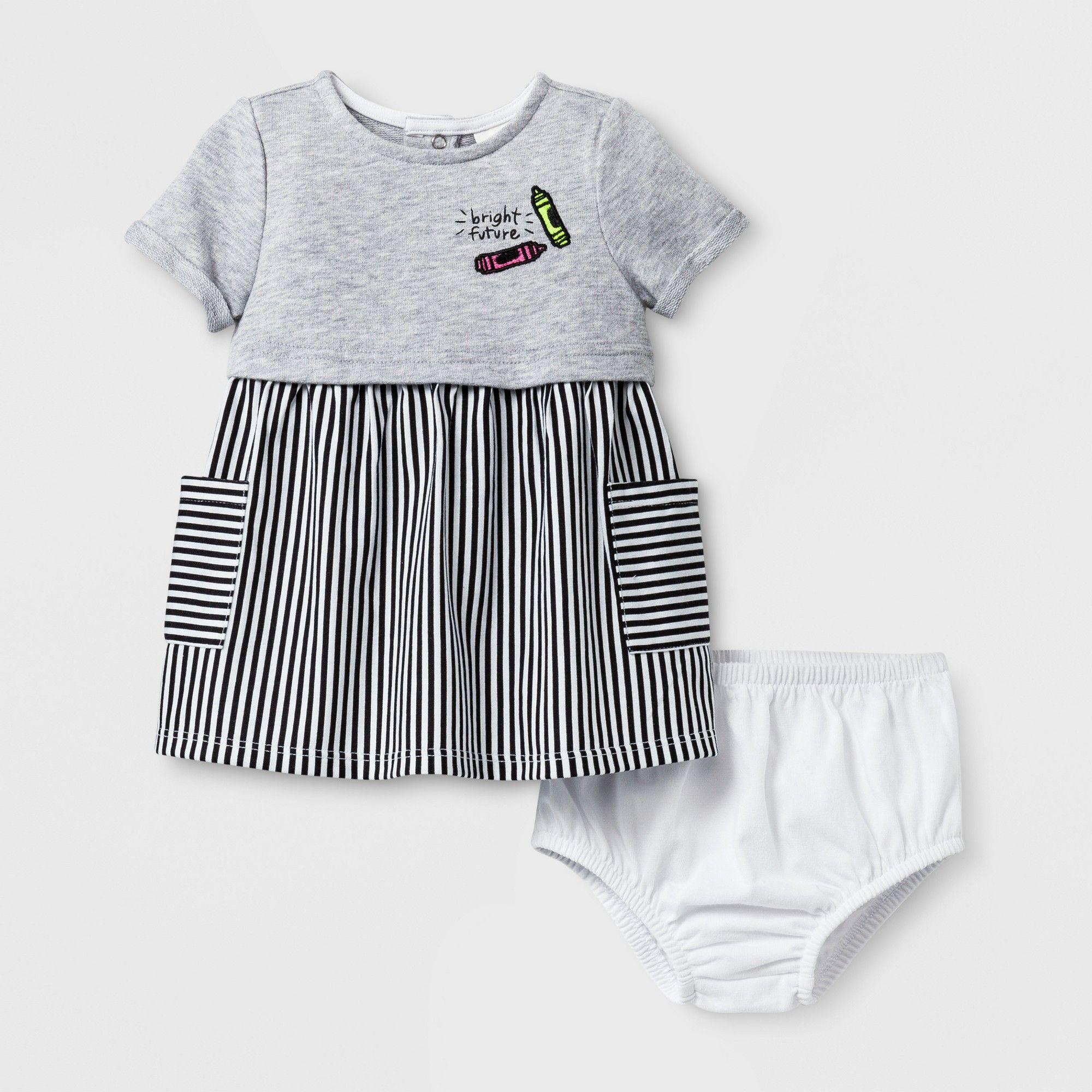 Empire Dresses Gray Black Eco White Cat & Jack 6 9 M Infant Girl s