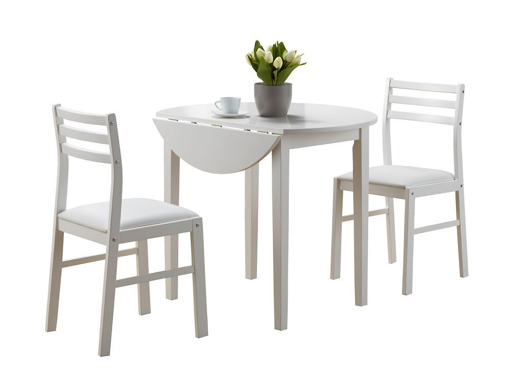 36 Inch D 3 Piece Round Dining Set In White With Drop Leaf Buy