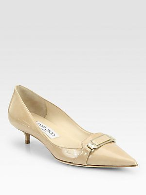 Jimmy Choo Valet Patent Leather Pumps Kitten Heel Shoes Leather Shoes Woman Womens Fashion Shoes