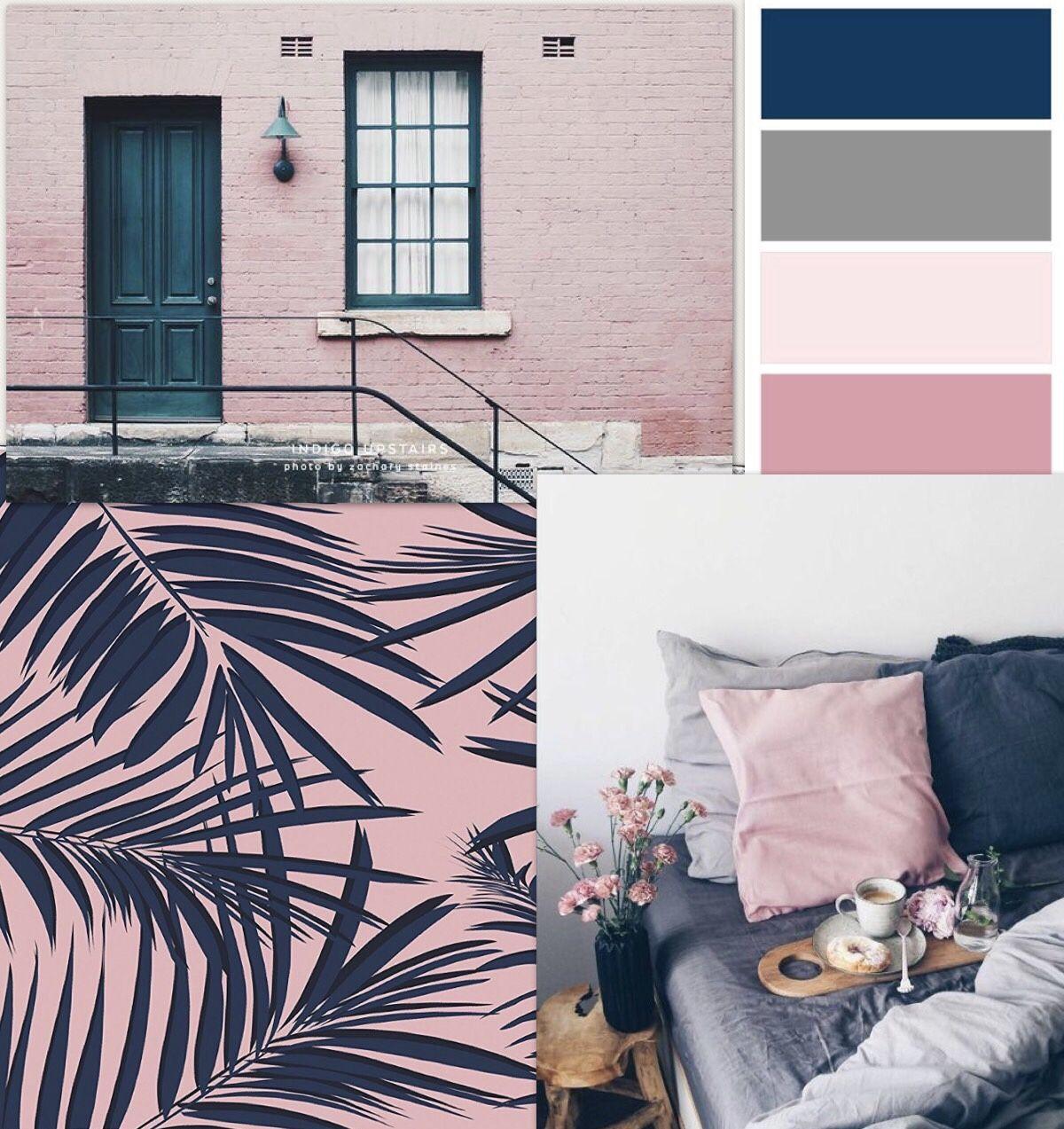 Pink Navy Blue Gray White Color Scheme Dormroom Room Homedecor