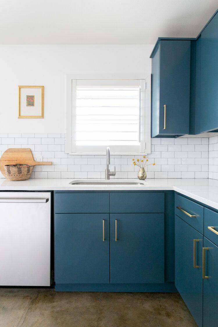 Hello Kitchen Austin Tx Garden Villa In 2020 Blue Kitchen Tiles Blue Kitchen Cabinets Kitchen Design