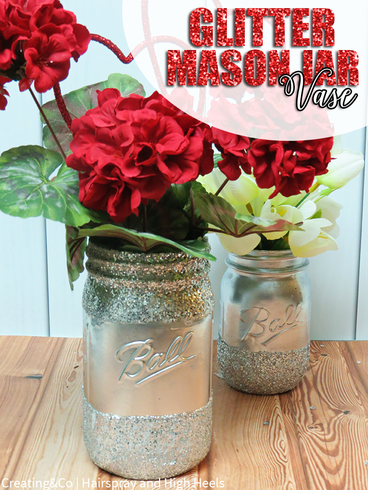 Diy Glitter Mason Jar Vase Mason Jar Vases Jar And Crafts