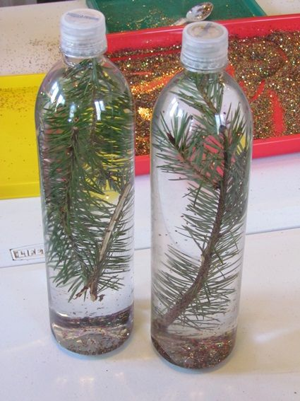 Pine needle discovery bottles by Teach Preschool --- potential part of Christmas present for parents?