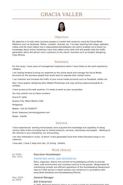 Visualcv Housekeeper Resume Samples Visualcv Resume Samples Database Fb165973 Resumesample Resumefor Resume Examples Sample Resume Resume Format