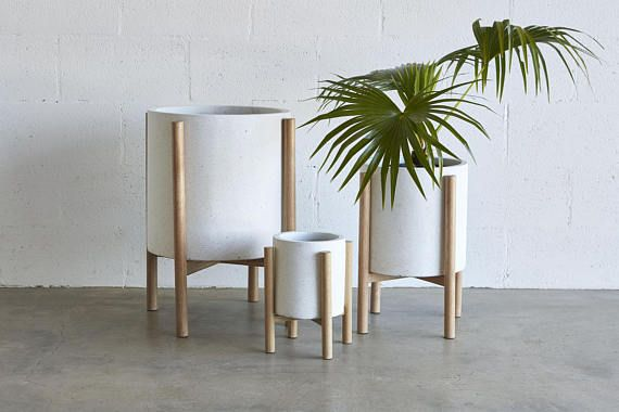 Small Pot Planter With Timber Legs Christo Series White Planter Pots Modern Plant Stand Timber